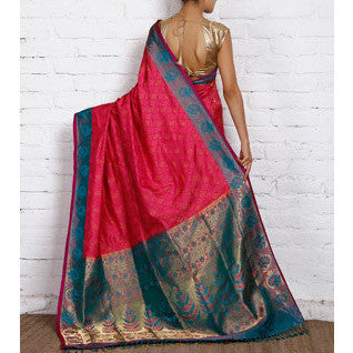 Handwoven Pink and Blue Silk Sarees