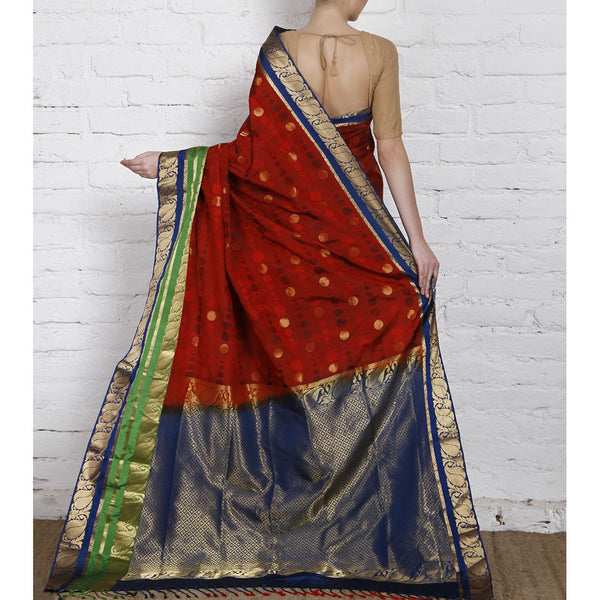 Handwoven Red, Blue and Green Silk Saree - rang