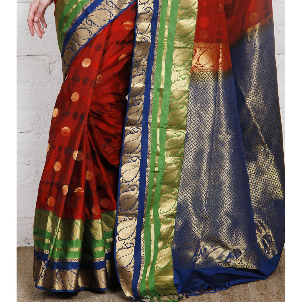 Handwoven Red, Blue and Green Silk Saree