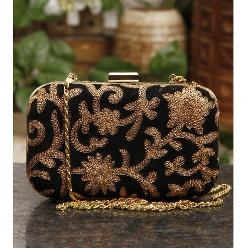 Black Velvet Clutch with Golden Thread Work
