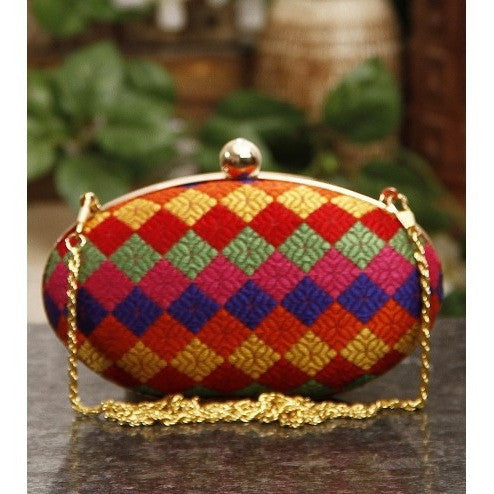 Multicoloured Oval Clutch