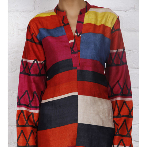 Weavers Studio = Multicoloured Silk Printed Tunic