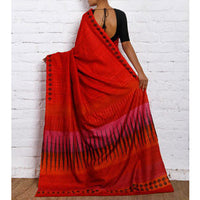 Red & Pink Silk Saree - rang