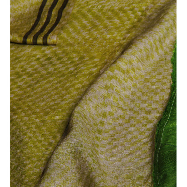 Green & Grey Silk Saree