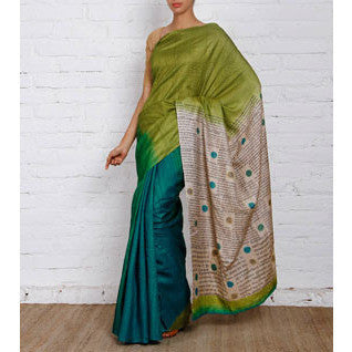 Green & Blue Silk Saree - rang