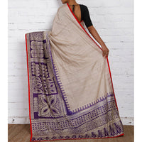 Tussar & Purple Silk Saree - rang