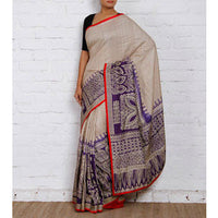 Tussar & Purple Silk Saree