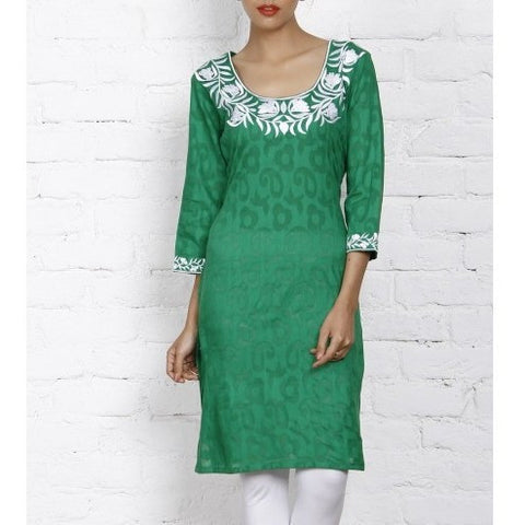 Mystiqual Designs - Green Cotton Jacquard - Kurti