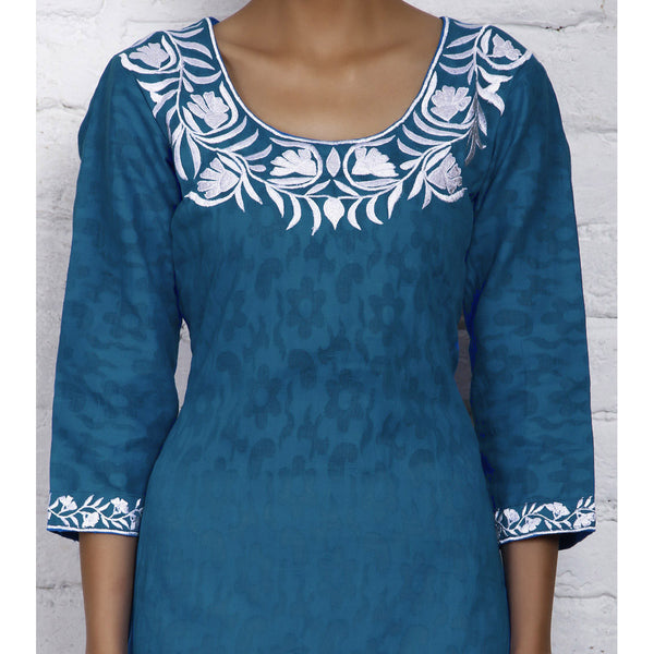 Blue Cotton Jacquard Kurti - rang