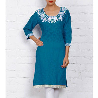 Mystiqual Designs - Blue Cotton Jacquard Kurti