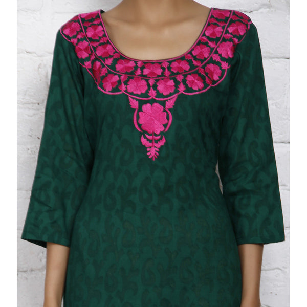 Green Cotton Jacquard Kurti (100000042555) - rang