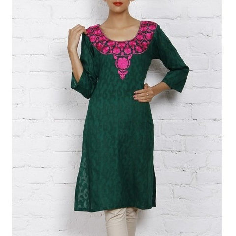 Mystiqual Designs - Green Cotton Jacquard Kurti