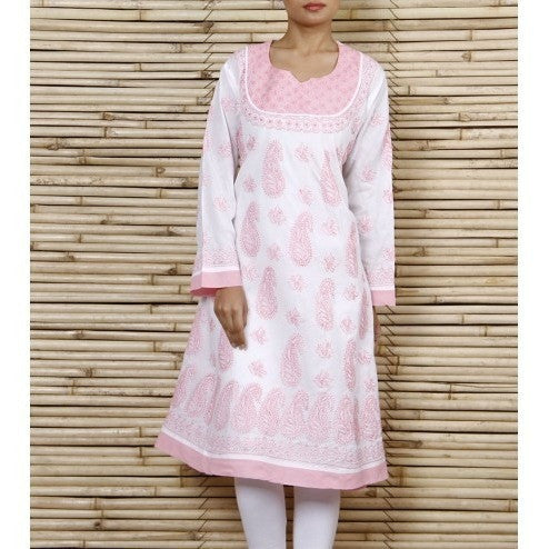 Pink Cotton Kurta With Chikankari - rang