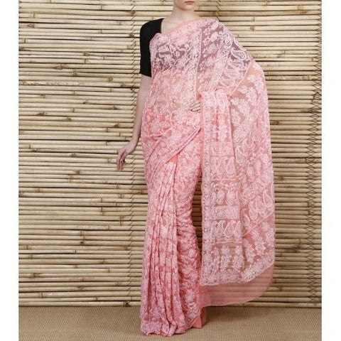 Light Pink Chiffon Saree With Chikankari