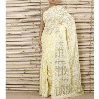 Yellow Chiffon Saree With Chikankari (100000043127)