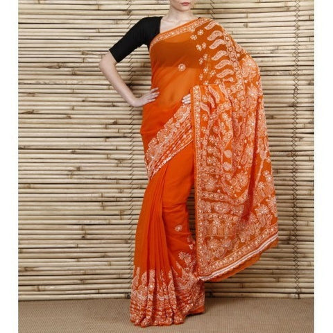 Orange Chiffon Saree With Chikankari