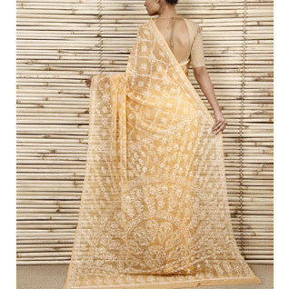 Yellow Chiffon Saree With Chikankari.