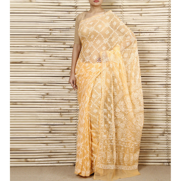 Yellow Chiffon Saree With Chikankari (100000043144) - rang