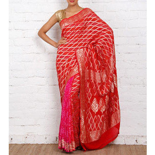 Red Bandhej Banarasi Georgette Saree - rang