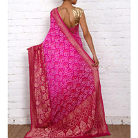 Purple Bandhej Banarasi Georgette Saree - rang
