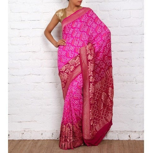 Purple Bandhej Banarasi Georgette Saree