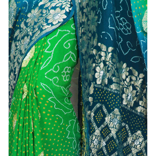 Blue & Green Bandhej Banarasi Georgette Saree - rang