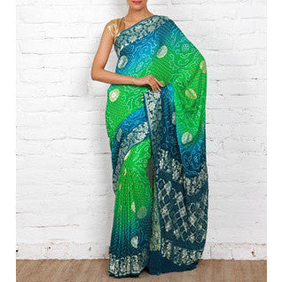 Blue & Green Bandhej Banarasi Georgette Saree