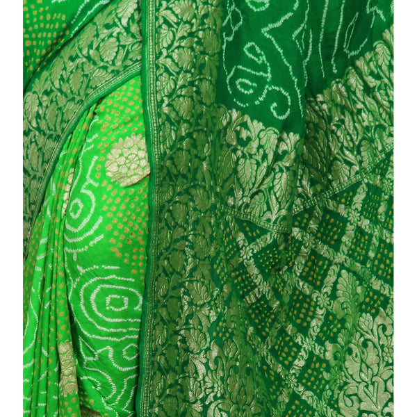 Green Bandhej Banarasi Georgette Saree