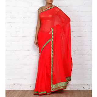 Red Chiffon Saree with Zari Border - rang