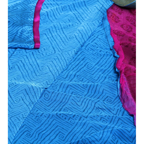 Pink Block Printed Chiffon Saree