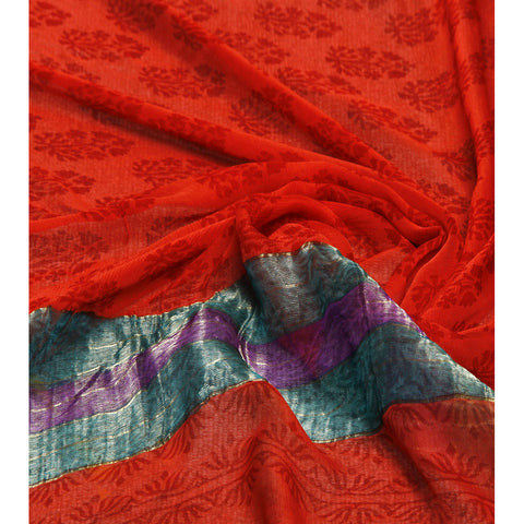 Red Block Printed Chiffon Saree