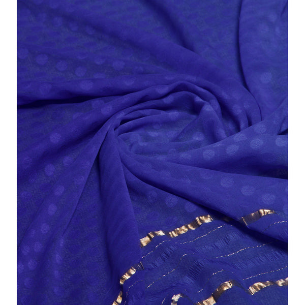 Blue Georgette Saree with Zari Border