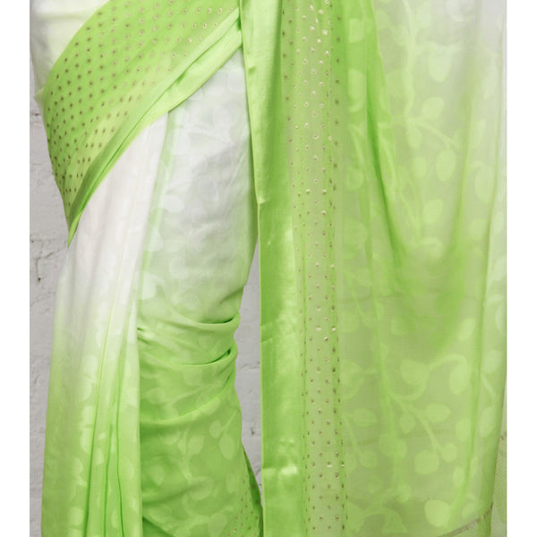 White & Lime Georgette Saree with Zari Border (100000043773) - rang