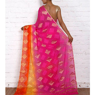 Pink & Red Georgette Saree with Zari Border