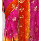 Pink & Red Georgette Saree with Zari Border - rang