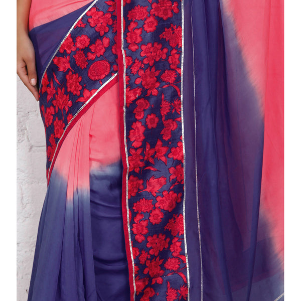 Blue & Pink Georgette Saree - rang
