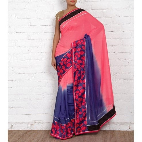 Blue & Pink Georgette Saree