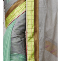 Grey & Lime Muga Silk Saree - rang