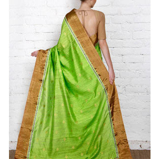 Green Handwoven Tussar Silk Saree - rang