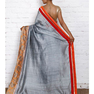 Grey Muga Silk Saree with Banarasi Brocade Border