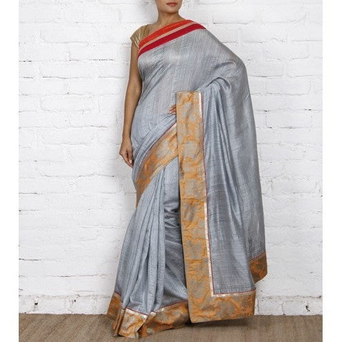 Grey Muga Silk Saree with Banarasi Brocade Border - rang