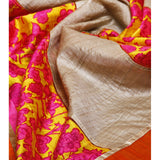 Grey & Lime Muga Silk Saree with Banarasi Silk Border - rang