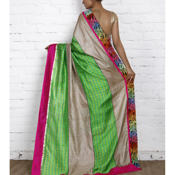 Grey & Green Muga Silk Saree with Banarasi Silk Border - rang