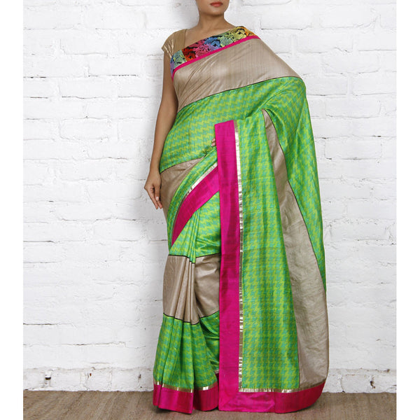 Grey & Green Muga Silk Saree with Banarasi Silk Border