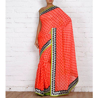 Orange Block Printed Chiffon Saree