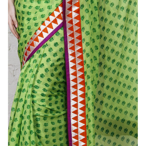 Green Block Printed Chiffon Saree