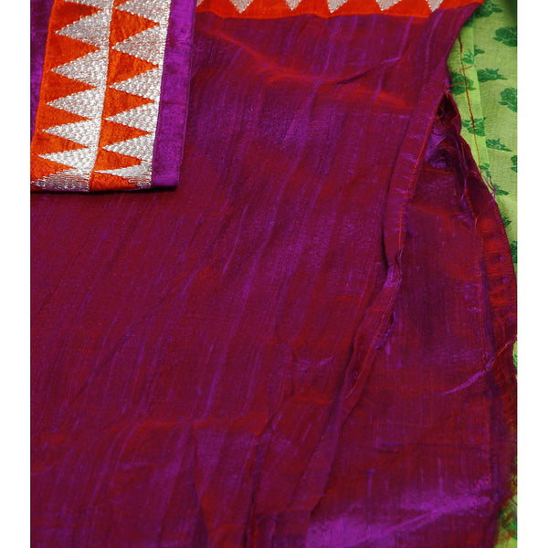 Green Block Printed Chiffon Saree - rang