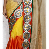Beige, Orange & Yellow Kota Silk Saree - rang