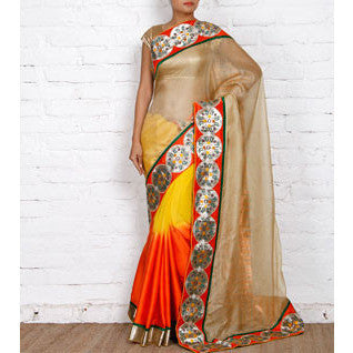 Beige, Orange & Yellow Kota Silk Saree