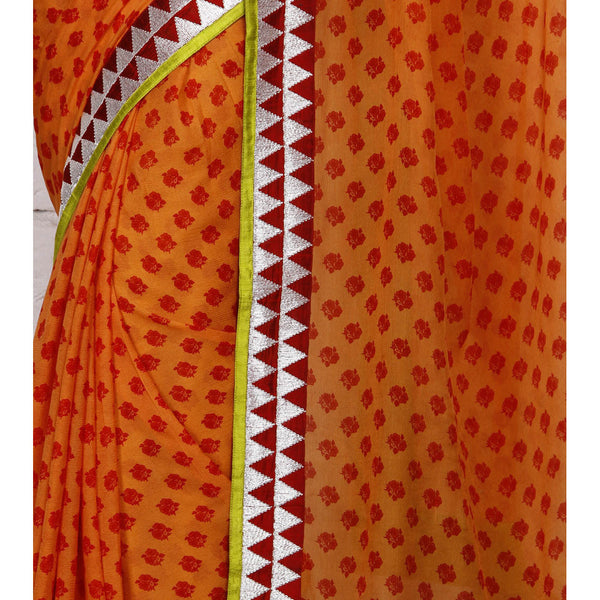Orange Block Printed Chiffon Saree (100000043790) - rang